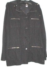 Black Zip Hood Cargo Jacket Size L Liz Claiborne - $19.99