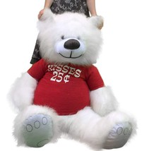 American Made Giant White Teddy Bear 55 inches Wears Tshirt KISSES 25 CENTS - $117.11