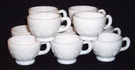 """10 Vintage WESTMORELAND Footed """"3 Fruits"""" White Milk Glass Punch Bowl Cups - $29.69"""
