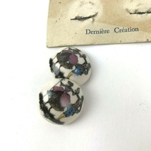 Vtg Ceramic Clip Style Earrings Derniere Creation Colonial Couple Rare  - $16.80