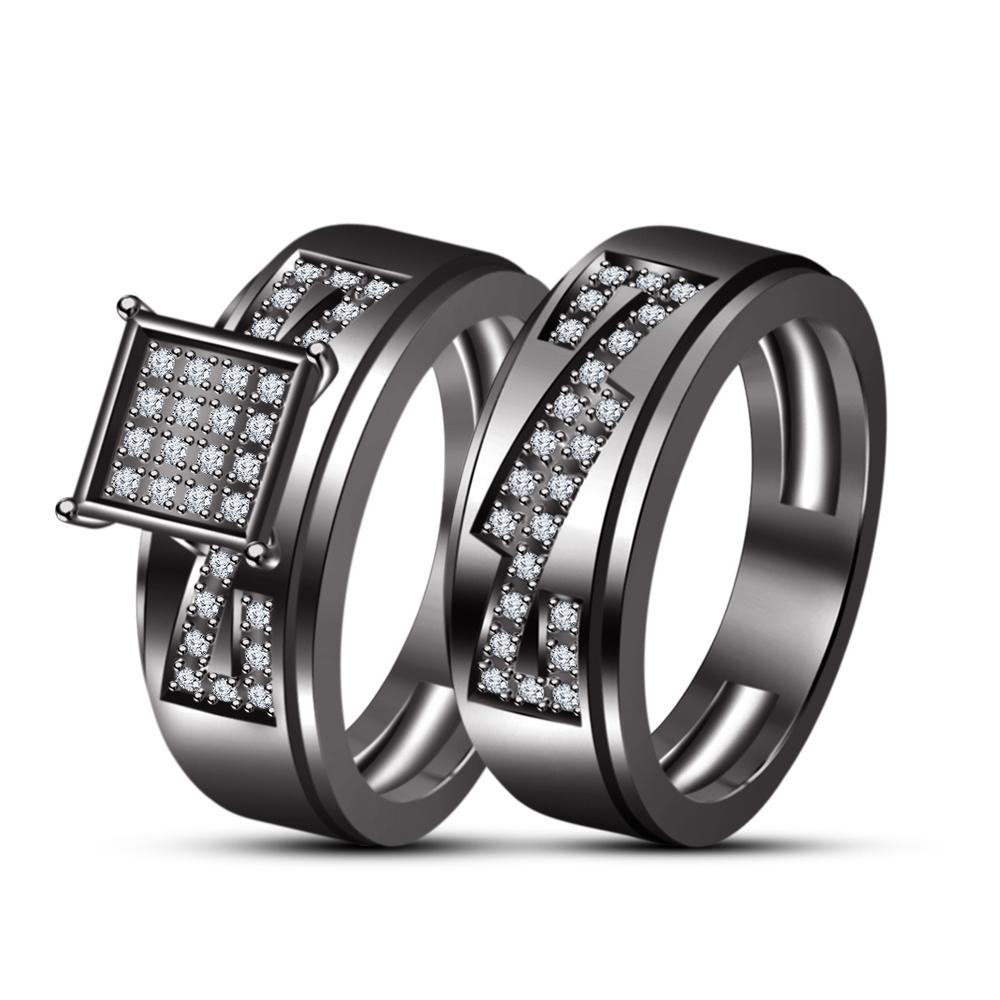 Black GP Men's Women's His Her Wedding Trio Ring Set & Free Shipping & Free Gift
