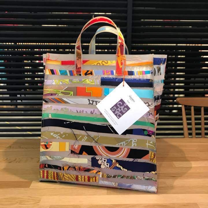 HERMES Louvre Museum Limited Tote Bag Rubber Silk 17