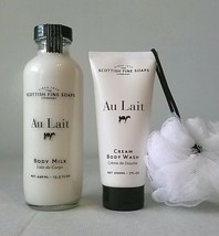 Scottish Fine Soaps AU LAIT Body Butter & 15.5oz Body Milk LARGE both are SEALED image 2