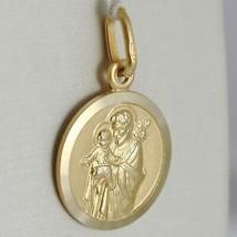 CIONDOLO MEDAGLIA ORO GIALLO 750 18K, San Giuseppe e Gesù, 15 MM, MADE IN ITALY image 2