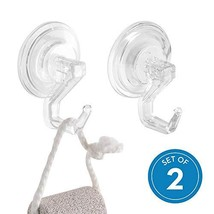iDesign Power Lock Bathroom Shower Plastic Suction Cup Hooks for Loofah, Towels,