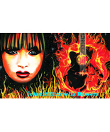 fire woman guitar flames original art painting musician rocker girl port... - $35.99