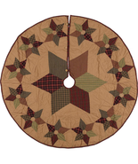 """Hand Quilted Tea Star 60"""" Christmas Tree Skirt Country Style Patchwork  - $109.99"""