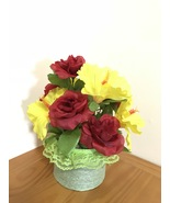 Red Roses Silk Arrangement Centerpiece/Artificial Floral Arrangement Dec... - $16.00
