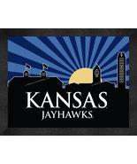 Kansas Jayhawks 13 x 16 Uscape with Retro Skyline Framed Print  - $39.95