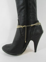 Mujer Moda Joyería Bota Brazalete Oro Placa Cruz Cadenas Zapato Bling Charm image 9