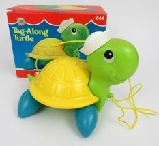 Vintage 1977 Fisher-Price Tag Along Turtle Pull Toy in Original Box 644 - $14.01