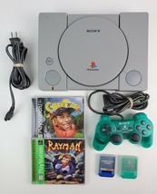 Sony Playstation 1 SCPH-5501 Bundle w/ 2 Games One Green Controller ALL ... - $44.87