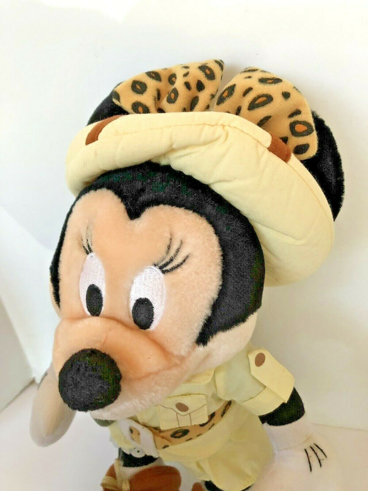 """Disney plush Safari Minnie Mouse stands about 14"""" tall with compass leopard bow  image 4"""