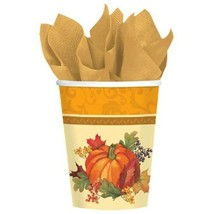 Bountiful Holiday Paper 8 Ct 9 oz Cups Fall Thanksgiving - $4.94