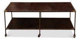 Restoration Leather & Brass Hardware Modern Transitional Farmhouse Coffee Table  - $1,293.00