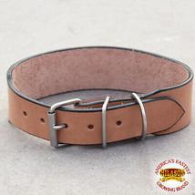 Hilason Heavy Duty Handmade Genuine Leather  Dog Collar Tan 15 To 24 Inch U-C101 - $15.86+