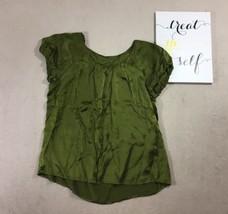Ann Taylor Loft Size M Career Office Work Green Cap Sleeve Shirt Top Blo... - $24.74
