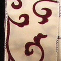 The Ribbon People Ivory Luxury Satin with Burgundy Swirl Wired Craft Rib... - $50.98