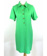 COLDWATER CREEK Size 12 Green Linen Blend Shirtdress Dress Animal Buttons - $22.99