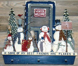 Coat rack Wood Snowmen Some of My Best Friends are Flakes Handmade - $32.66