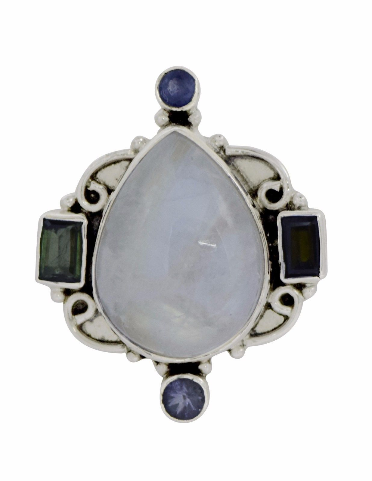 Vintage looking Rainbow Moonstone 925 Sterling Silver Ring Sz 7 SHRI0344