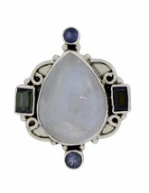 Vintage looking Rainbow Moonstone 925 Sterling Silver Ring Sz 7 SHRI0344 - $56.61