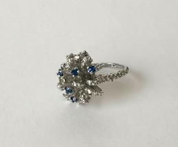 Estate Silver Tone Star SUNBURST  Blue & Clear Rhinestone RING Size 9 - $12.86