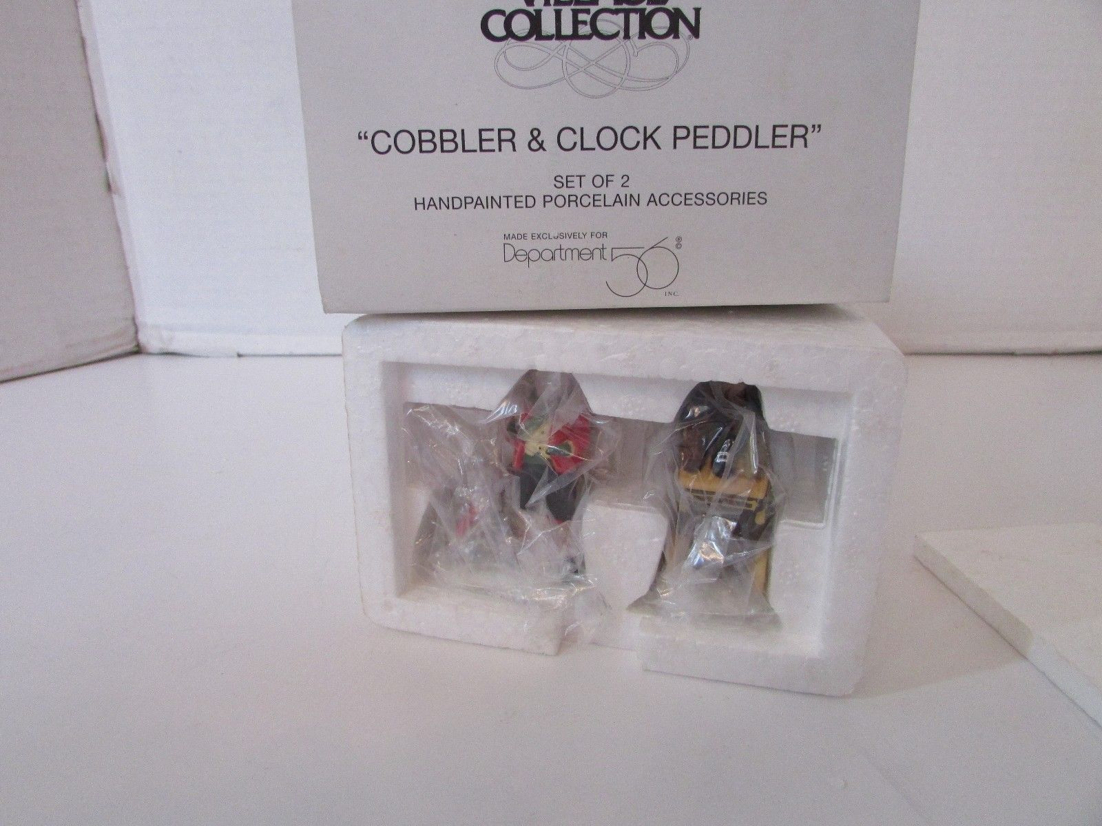 DEPT 56  58394 COBBLER & CLOCK PEDDLER SET OF 2 VILLAGE ACCESS  MIB  D3 - $9.45