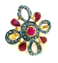 Victorian 1.00ct Rose Cut Diamond Ruby Women's Wedding Ring - $383.35