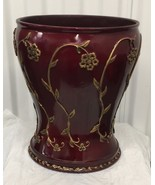 Brand New  Bathroom Burgundy Waste Basket Gold flowers design - $49.49