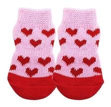 Black Temptation [Pink Heart] 8 Pcs Lovely Knit Dog Socks Cat Socks Pet ... - £13.03 GBP