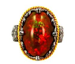 Piedra Preciosa Ópalo Anillo 14k Diamante Oro Plata de Ley 925 Inspirado... - $732.32