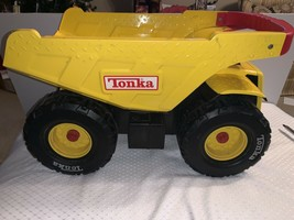 TONKA Big Yellow Metal Dump Truck Red Handle Push Toy Vintage Hasbro Large - $79.99