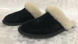 Womens Ugg Australia Scuffette Black Suede Sheepskin Slippers Mule Slide... - £36.56 GBP