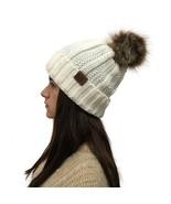 Lady's Winter Warm knitted hats Beanie CC with Cute Faux Fur Pom Pom Bal... - £8.98 GBP