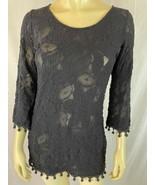 Sara Campbell Shirt S Black Pullover Stretch Knit Poly Blend Fringe Trim... - $35.64