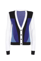 NWT Peter Pilotto Unique Cardigan Sweater - Blue/White/Black Colorblock - $32.47