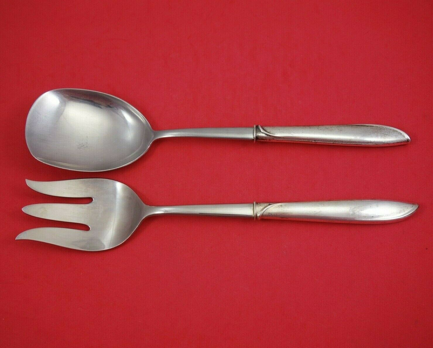 Silver Rhythm by International Sterling Silver Salad Serving Set 2pc HH WS Orig