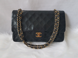 "OFFER!Authentic Chanel Vintage Medium 10"" Lambskin Double Flap Black Bag - $1,551.50"