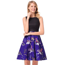 AOVEI Purple Birds Print Hit Color Flared A Line Sweet Party Pleated Dress - $24.99