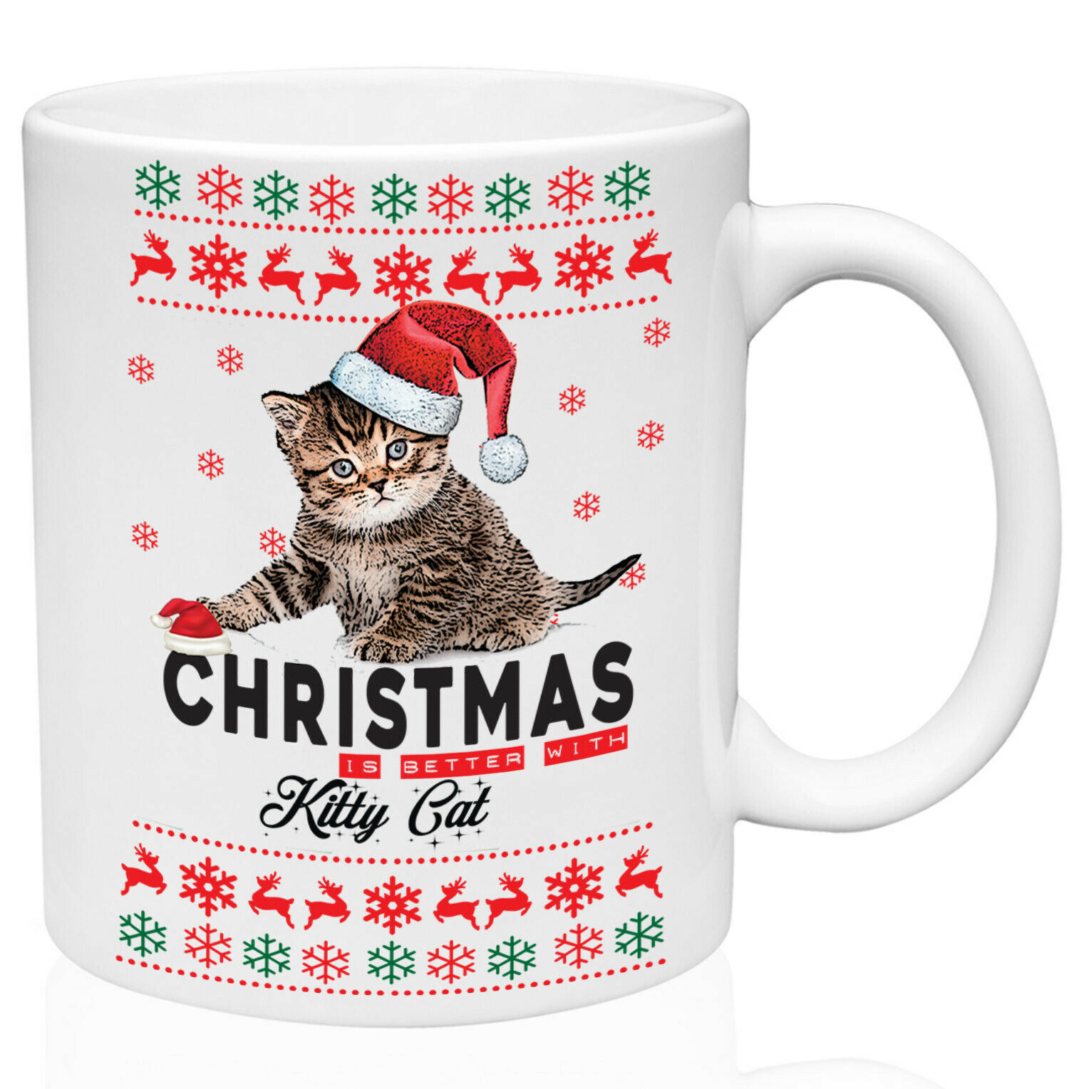Kitty Cat Christmas Better With Kitty Cat 11oz Ceramic High Quality Coffee Mug - $15.93