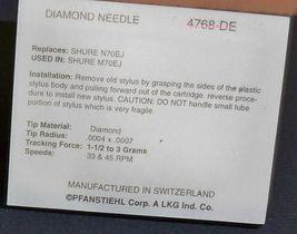 TURNTABLE STYLUS NEEDLE for SHURE N70EJ N72EJ N72 M70EJ M72EJ N70B 4768-DE image 3