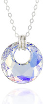 Circle Pendant Made with Original Swarovski AB Crystal 925 Sterling Silv... - $120.90