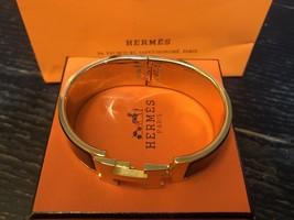 Authentic HERMES Clic Clac Wide Bracelet H BLACK GOLD HW SZ M Bangle  image 11