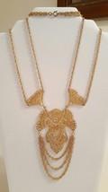 Vintage Art Deco Gold Tone Filigree Statement Pendant Necklace  - $38.00
