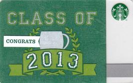 Starbucks 2013 Congrats Class Of 2013 Collectible Gift Card New No Value - $4.99