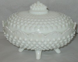 Vintage Fenton Oval Footed White Hobnail Milk Glass Lidded Covered Candy Dish - $27.72