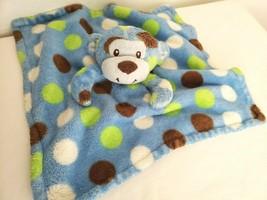 Baby Essentials Monkey Polka Dot Baby Security Blanket Blue Green Brown ... - $19.78