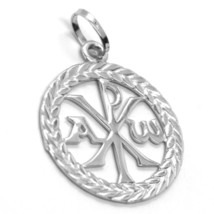 SOLID 18K WHITE GOLD MONOGRAM OF CHRIST PENDANT, PEACE, MEDAL, 0.95 INCHES image 2