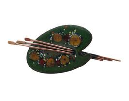Matisse Copper & Green Enamel Artist's Palette Brooch Pin - $42.00